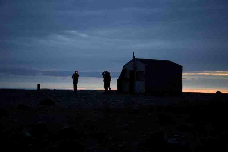 setting sun at shelter cabin small